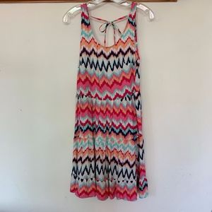 H&M Zig-Zag Stripped Pink/Blue Fit&Flare Dress 4